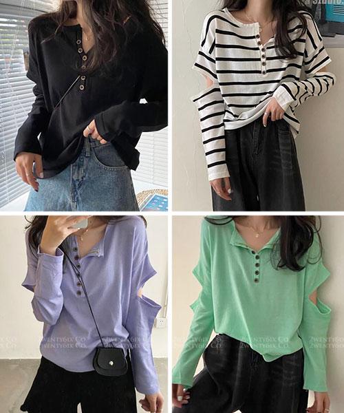 ★ 韓版 Susie SP ★時尚率性 造型挖洞袖 排扣橫條紋上衣 (六色)