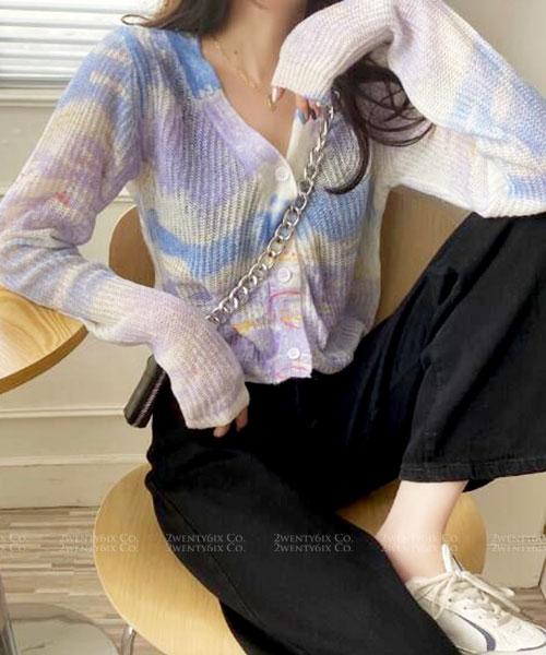 ★ 韓版 Roxanne ★ 甜美和諧 渲染 V領排扣針織上衣