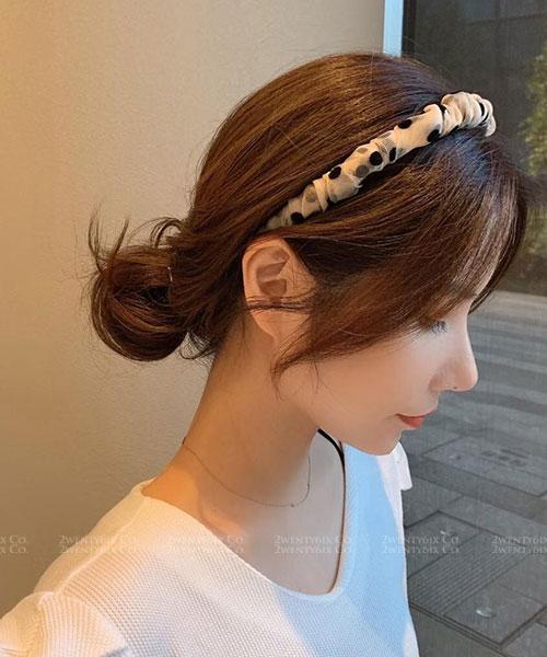 ★ 正韓 Marcia Dot ★ 甜美可愛 紡紗包裹可愛點點髮箍 (兩色)