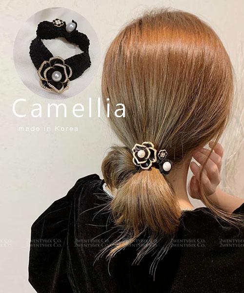 ★ 正韓 Camellia HT ★ 時尚甜美 晶透大小珍珠山茶花髮圈
