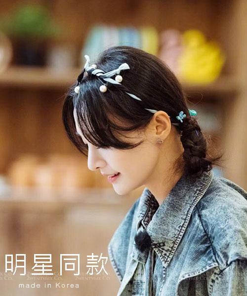 ★ 正韓 Zanna HB ★ 明星同款  甜美法式拼色軟鋼圈 珍珠髮帶 (四色)
