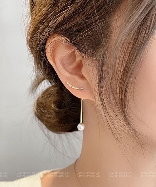 ★ 正韓 Wallis Pearls ★ 時尚閃耀 簡約閃鑽圈 串金屬吊墜珍珠 耳針耳環