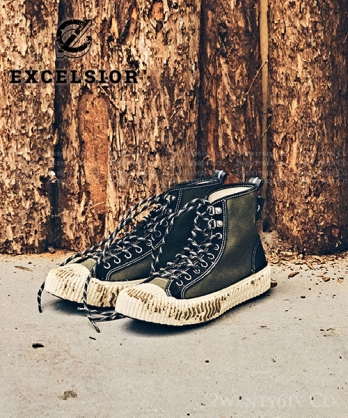 ★ 正韓品牌代購 EXCELSIOR BOLT ★ 麂皮帆布高筒餅乾鞋 (菘柏綠/黑)