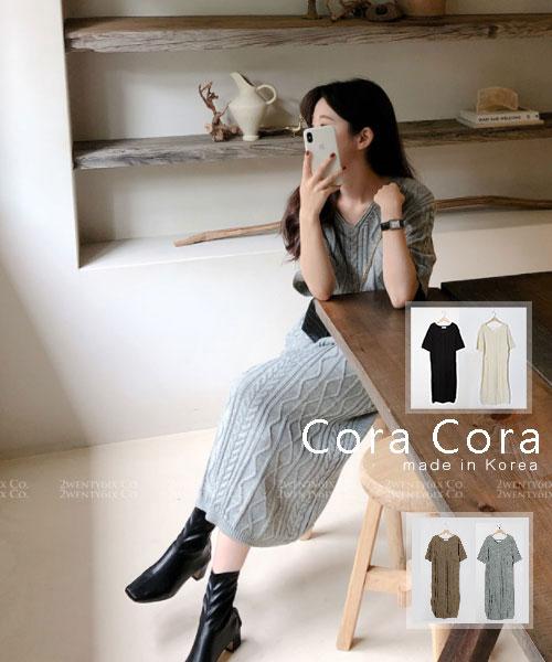 ★ 正韓 Cora Cora ★ 時尚優雅 浮雕波紋 V領針織連衣裙(四色)