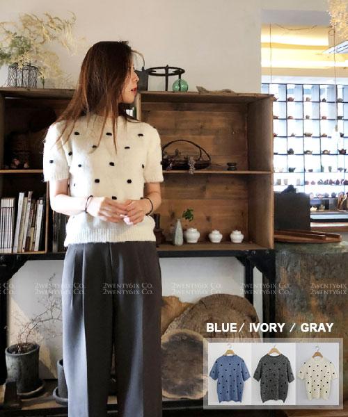 ★ 韓系 DOT NTP ★ 時尚甜美 點點毛絨針織短袖上衣 (三色)
