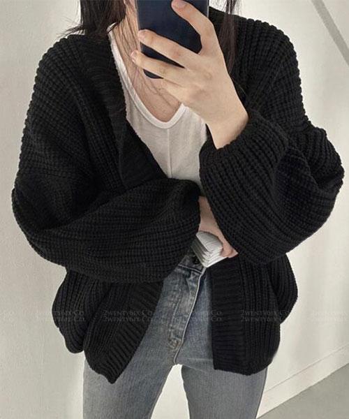 ★ 韓版 Lawrence ★ 時尚休閒 搶眼保暖 厚針織開衫外套 (兩色)