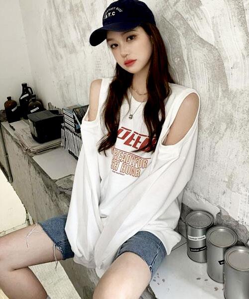 ★ 韓版 SPEED TEE ★ 率性休閒 個性印刷 挖洞袖 寬鬆T恤(兩色)