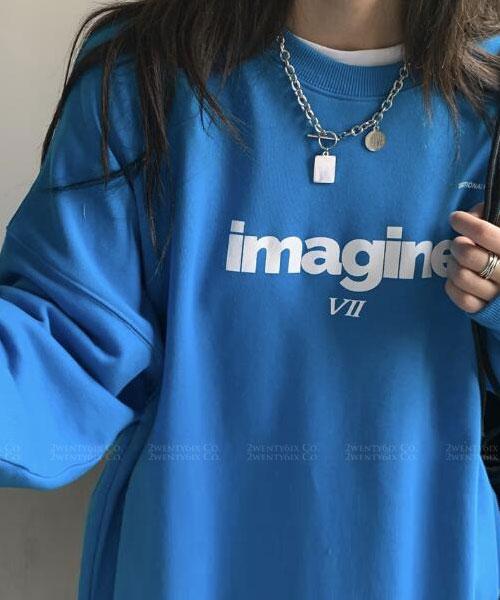 ★ 韓版 IMAGINE VII ★ 休閒個性 百搭印刷圓領上衣