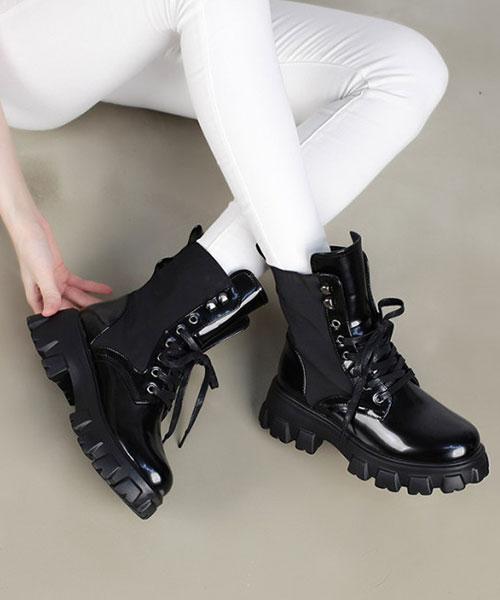 ★ 韓系 Gustave BT ★ 時尚率性皮革 內拉鍊 5.5cm粗曠鞋底 低筒靴