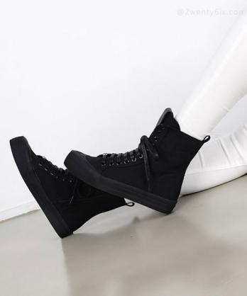 ★韓系 ROBERTA Canvas ★ 休閒個性 中筒靴繫帶3cm厚底帆布鞋 (兩色)