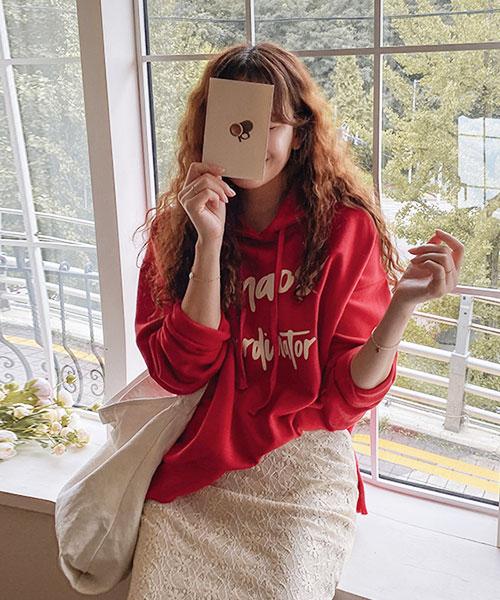 ★ 正韓 LEELIN ★ 個性休閒 造型印刷 束繩連帽上衣 (兩色)