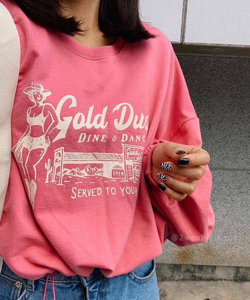 ★ 正韓 GOLDDUST ★率性休閒 造型印刷束繩下擺 寬袖T恤 (四色)