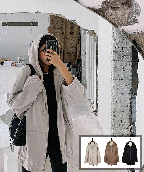 ★ 正韓 LYON LYON ★休閒率性 口袋 長版束繩連帽拉鍊外套 (三色)