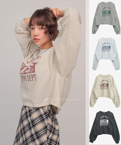 ★ 正韓 EDIAN-WEST ★ 率性復古 寬鬆舒適 可愛短版T恤 (四色)