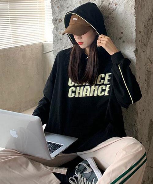 ★ 韓版 CHANCE HOOD ★ 時尚個性印刷 束繩連帽口袋衛衣 (三色)