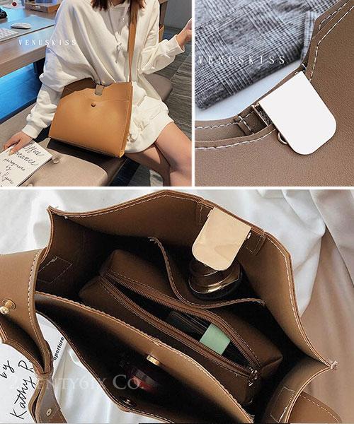 ★ 嚴選 VENUSKISS 品牌★ 簡約不規則金屬扣大容量斜肩揹包(附小包)
