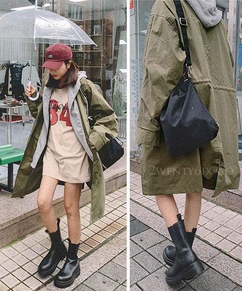 ★ 正韓 NELVE HOOD ★ 個性假兩件 拉鍊棉帽T 層次風衣排扣外套(兩色)