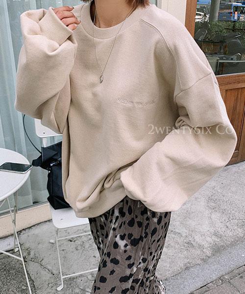 ★ 正韓 Make me Smile ★時尚感 百搭圓領寬鬆上衣 (七色)