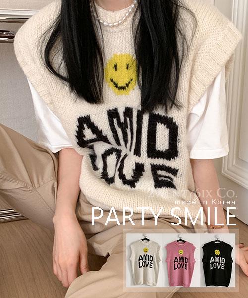 ★ 正韓 PARTY SMILE ★ 時尚超萌 微笑先生羊毛混紡針織背心 (三色)