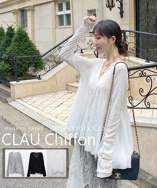 ★正韓 CLAU Chiffon ★時尚優雅 雪紡V領皺褶顯瘦上衣(三色)
