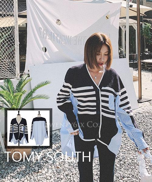 ★ 韓系 TOMY SOUTH ★ 休閒質感 撞色條紋針織拼接襯衫上衣