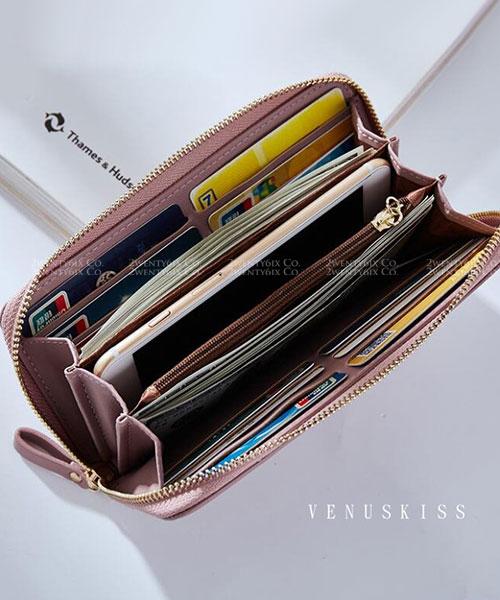★ 嚴選 VENUSKISS 品牌★ 文青莫蘭迪色調 皮繩掛飾拉鏈長夾 (六色)