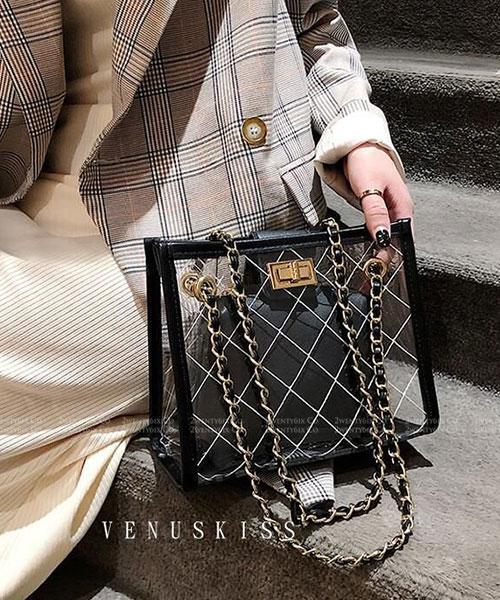 ★ 嚴選 VENUSKISS 品牌★果凍菱格紋 皮革金屬鏈條 單肩斜揹包 (四色)