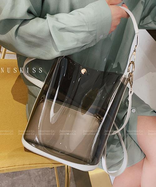 ★ 嚴選 VENUSKISS 品牌★ 時尚透明果凍 手提斜揹水桶包(四色)