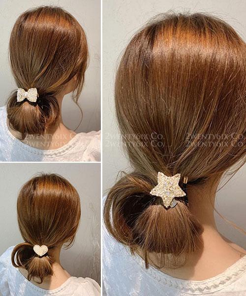 ★ 正韓 DIAPearls ★ 氣質甜美 水鑽珍珠串 可愛圖形鐵牌髮圈 (三款)