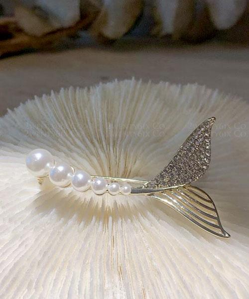 ★ 正韓 Mermaid ★ 優雅奢華 絕美水鑽珍珠美人魚尾胸針