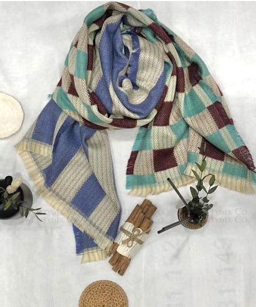 ★ 正韓 WD CHECK ★ 時尚風潮 柔和方格紋拼色寬流蘇圍巾 (五色)