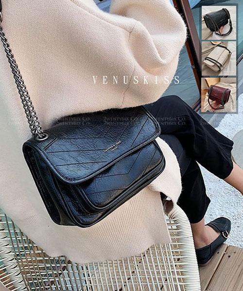 ★ 嚴選 VENUSKISS 品牌★ 時尚復古 皮革鍊條揹帶 手提斜揹包 (三色)