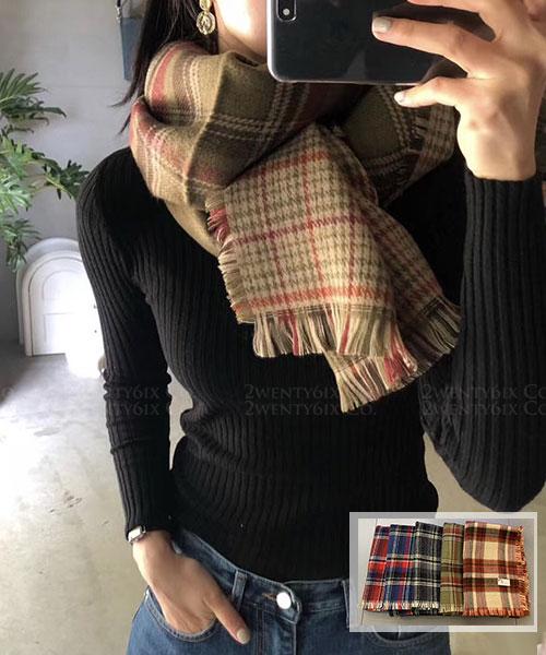 ★ 正韓 Ronald SK ★ 時尚英倫氣息 保暖大小格紋流蘇圍巾 (五色)