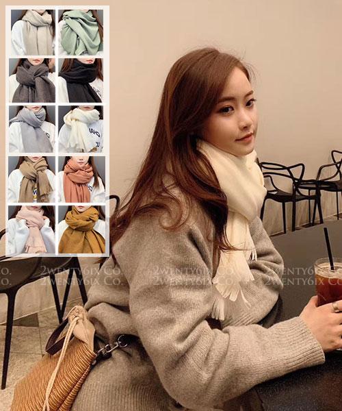 ★ 正韓 Macaron ★ 時尚氣質質感純色馬卡龍短流蘇圍巾 (十色)