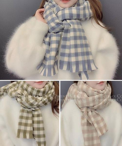 ★ 正韓 CandyKiss ★ 時尚甜美 糖果色系 方格格紋圍巾 (五色)