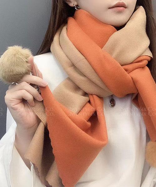 ★ 正韓 Pastel Kiss ★ 時尚柔美 可愛兔毛球球 雙色粉彩系列圍巾 (四色)