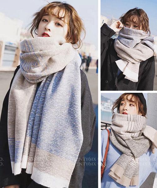 ★ 正韓 TINT LIME ★ 清新休閒淡雅撞色條紋圍巾/披肩 (兩色)