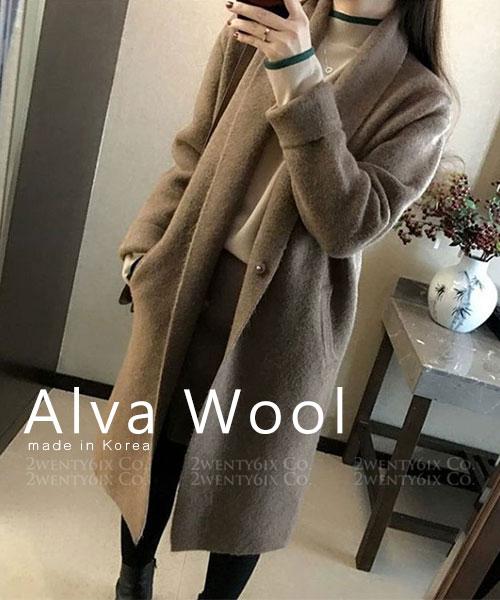 ★ 正韓 Alva Wool ★ 時尚質感羊毛 修身顯瘦 翻領口袋外套 (兩色)