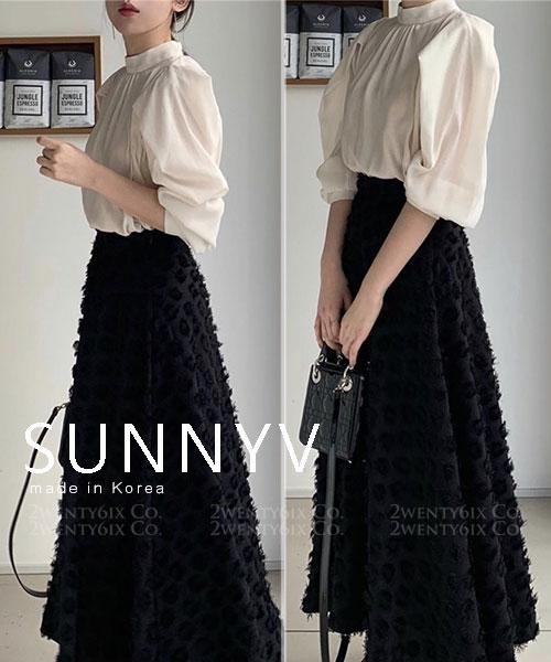 ★ 正韓 SUNNYV ★ 時尚柔美 細碎流蘇 顯瘦高腰長裙