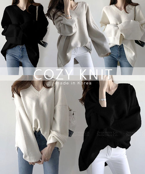 ★ 正韓 COZY KNIT ★甜美氣質 簡約純色慵懶寬鬆 V領針織上衣 (三色)