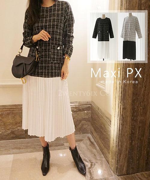 ★ 正韓 Maxi PX ★ 時尚經典 假兩件 厚感格紋拼接百摺裙 (兩色)