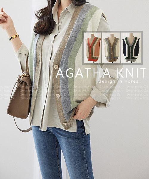 ★ 韓系 AGATHA KINT ★ 時尚率性 羊毛撞色幾何圖排釦背心 (三色)
