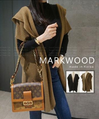 ★ 正韓 MARKWOOD ★ 休閒質感寬短袖 超顯瘦連帽羊毛開衫外套 (兩色)