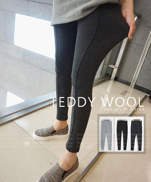 ★ 正韓 TEDDY WOOL ★ 休閒顯瘦 修飾線條 羊毛襯裡綁腿褲抓毛褲 (三色)