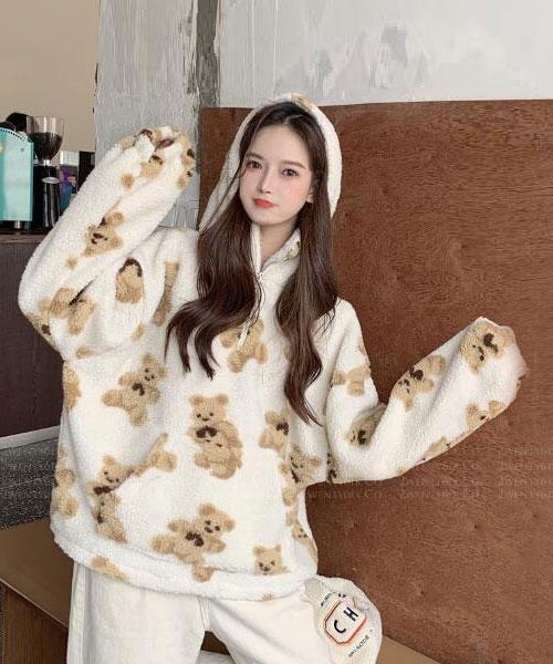 ★ 韓版 DoraBear ★ 時尚可愛 綿軟厚毛絨連帽上衣 (兩色)