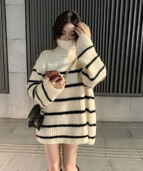 ★ 韓版 LamCharm ★  時尚柔美 橫條紋 柔軟高領針織上衣