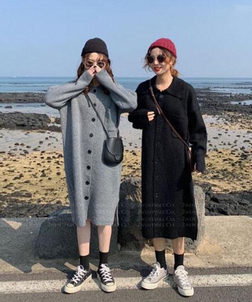 ★ 韓版 YAKI KNIT ★ 休閒時尚 翻領排釦長版外套 (兩色)