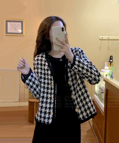 ★ 韓版 PINKOI ★ 時尚俐落 千鳥格紋 撞色滾邊 開衫排釦外套