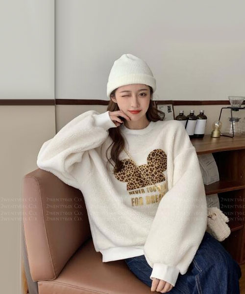 ★韓版 LEO Dreams ★ 俏皮可愛 豹紋米奇頭 寬鬆棉絨上衣 (兩色)