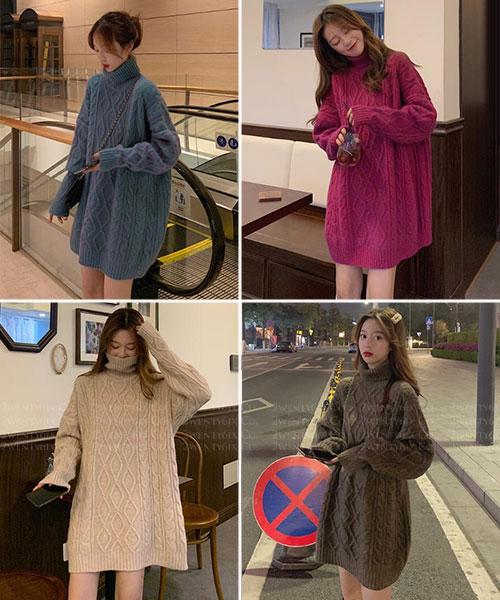 ★韓版 TWIST KNIT ★ 率性時尚 扭結立體紋 長版針織上衣(四色)
